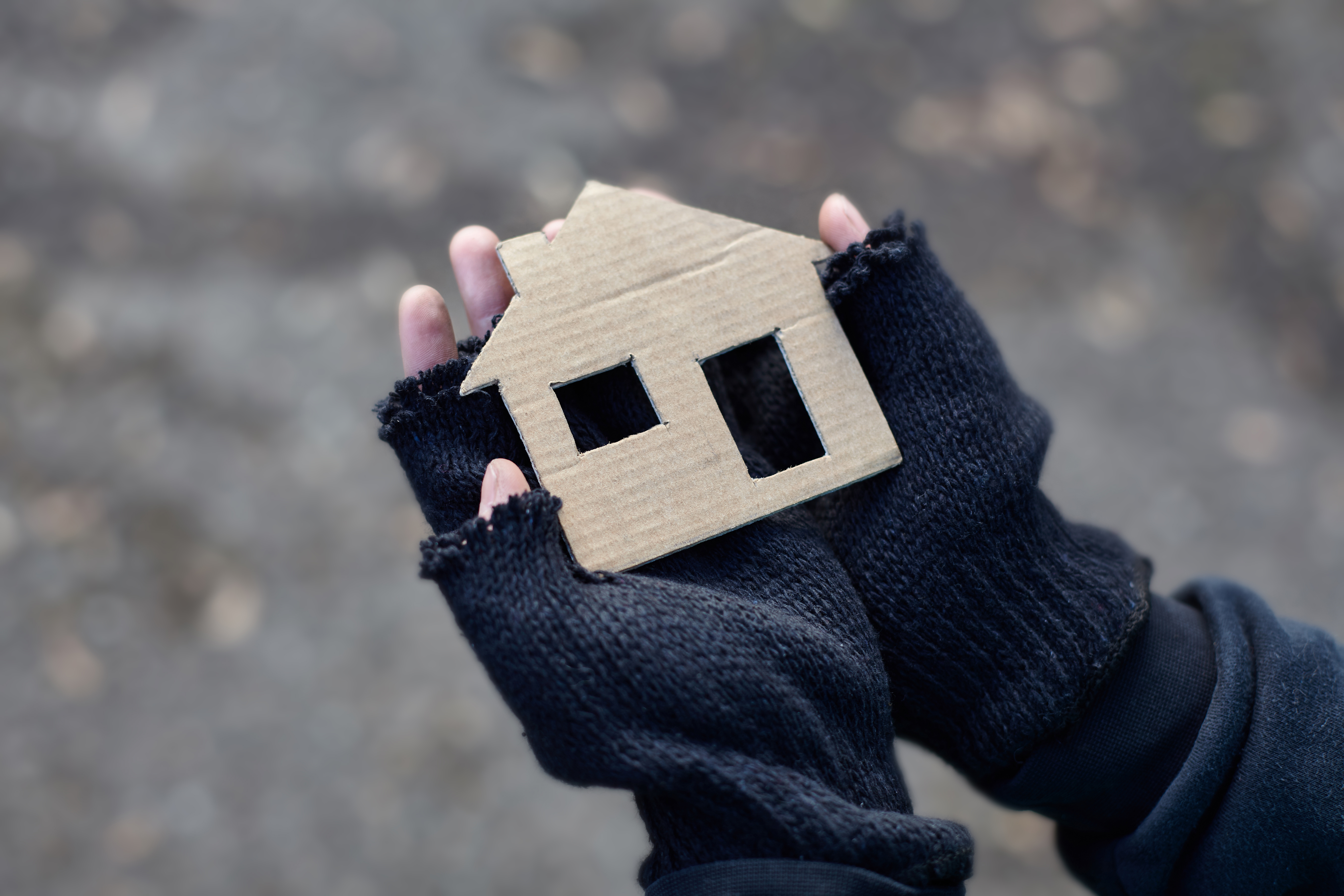 Two hands holding a cut out of a house