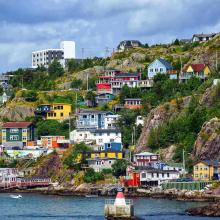 Colourful houses from the Battery neighborhood in St John's Newfoundland